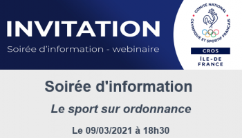 CROS : INVITATION - Soirée d'information * Sport sur ordonnance